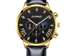 JIANUO Quarter men calendar Wristwatch