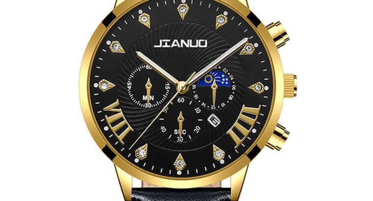 JIANUO Quarter men calendar Wristwatch