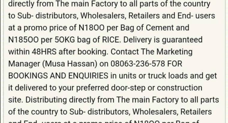 Get your affordable Bags of Cements and Rice